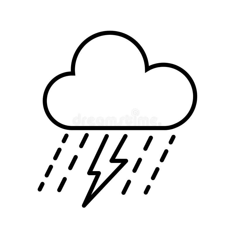 Vetor do ícone da nuvem, da chuva e do raio ilustração royalty free