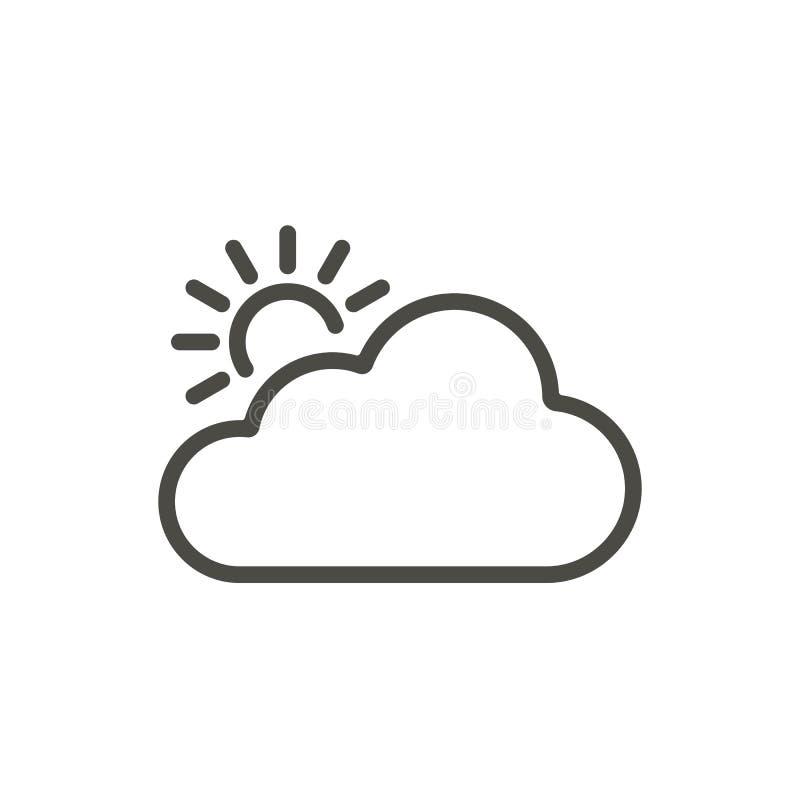 Vetor do ícone da nuvem de Sun Linha símbolo de tempo ilustração stock