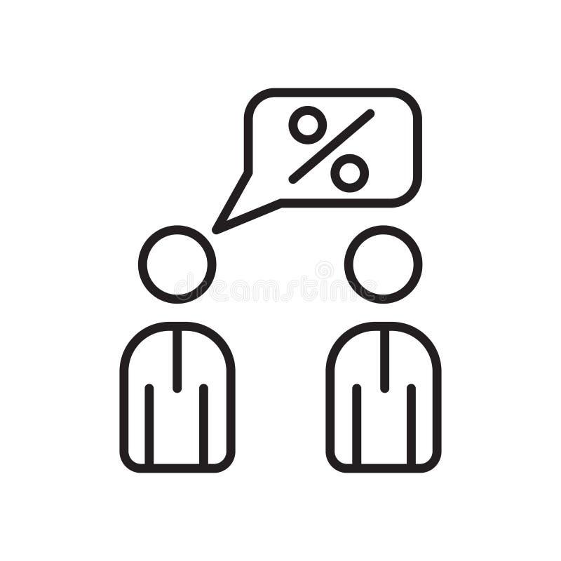 Vetor do ícone da oferta isolado no fundo, no sinal da oferta, no sinal e nos símbolos brancos no estilo linear fino do esboço ilustração royalty free