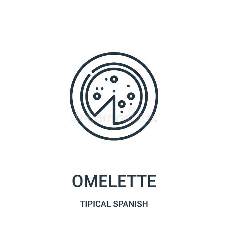 vetor do ícone da omeleta da coleção espanhola tipical Linha fina ilustração do vetor do ícone do esboço da omeleta Símbolo linea ilustração do vetor