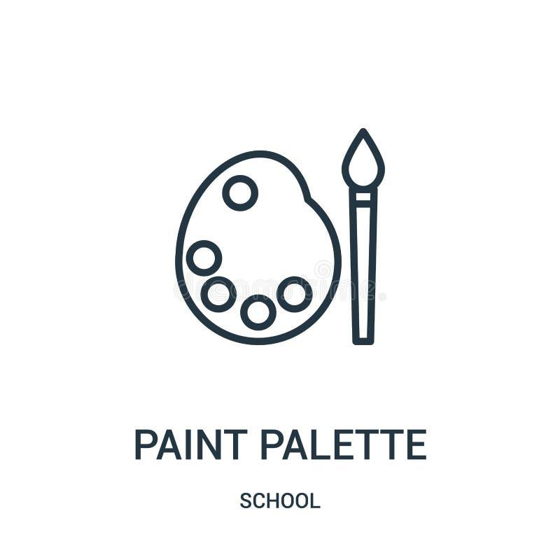 vetor do ícone da paleta da pintura da coleção da escola Linha fina ilustração do vetor do ícone do esboço da paleta da pintura S ilustração stock