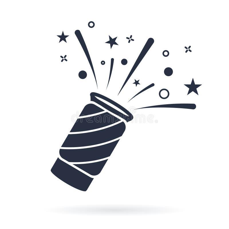 Vetor do ícone da panela de fazer pipoca dos confetes, sinal liso enchido, pictograma contínuo isolado no branco Símbolo da celeb ilustração do vetor