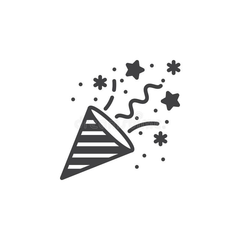 Vetor do ícone da panela de fazer pipoca dos confetes, sinal liso enchido, pictograma contínuo mim ilustração stock