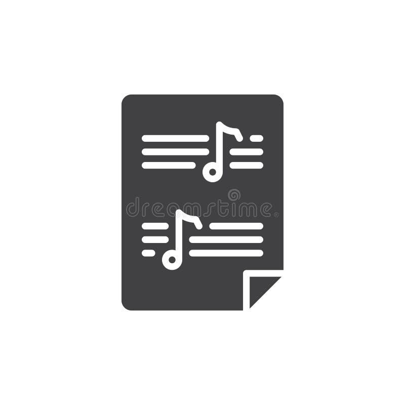 Vetor do ícone da partitura ilustração stock