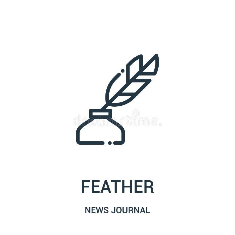 vetor do ícone da pena da coleção do jornal da notícia Linha fina ilustração do vetor do ícone do esboço da pena Símbolo linear p ilustração do vetor