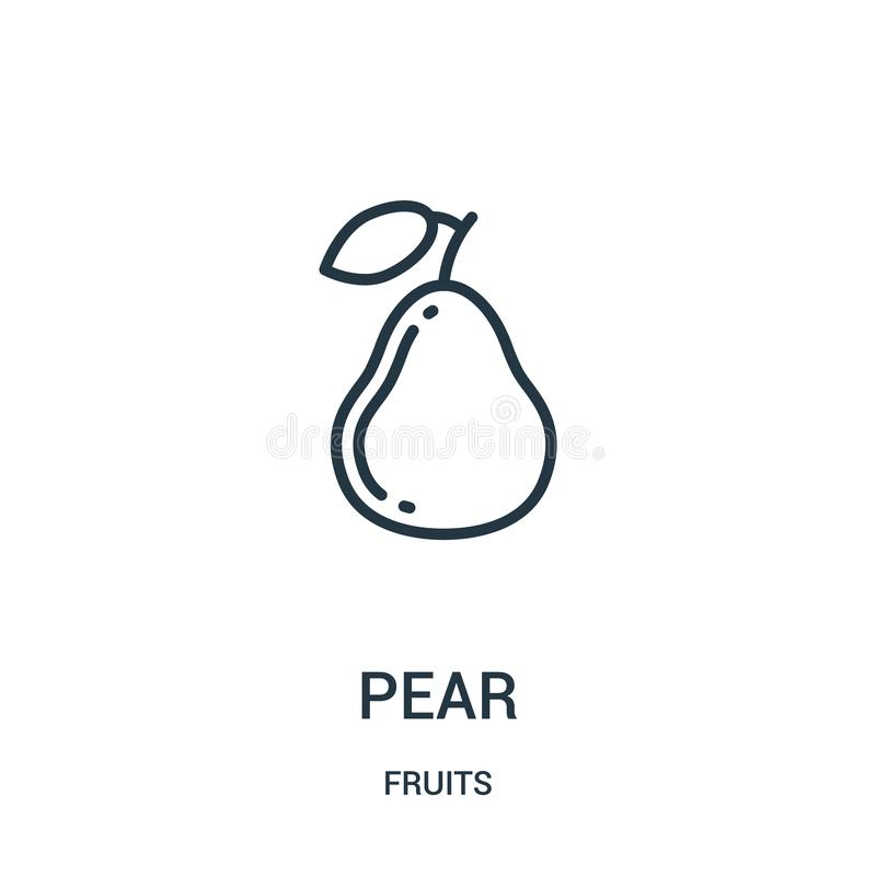 vetor do ícone da pera da coleção dos frutos Linha fina ilustração do vetor do ícone do esboço da pera Símbolo linear para o uso  ilustração do vetor