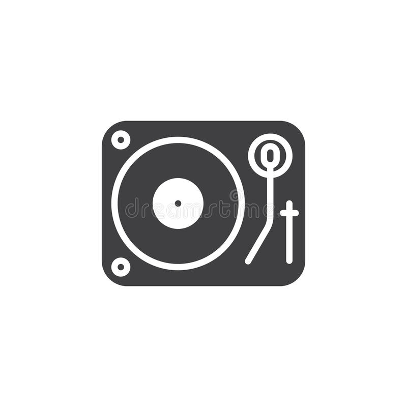 Vetor do ícone da plataforma giratória do vinil do DJ, sinal liso enchido, pictogra contínuo ilustração do vetor