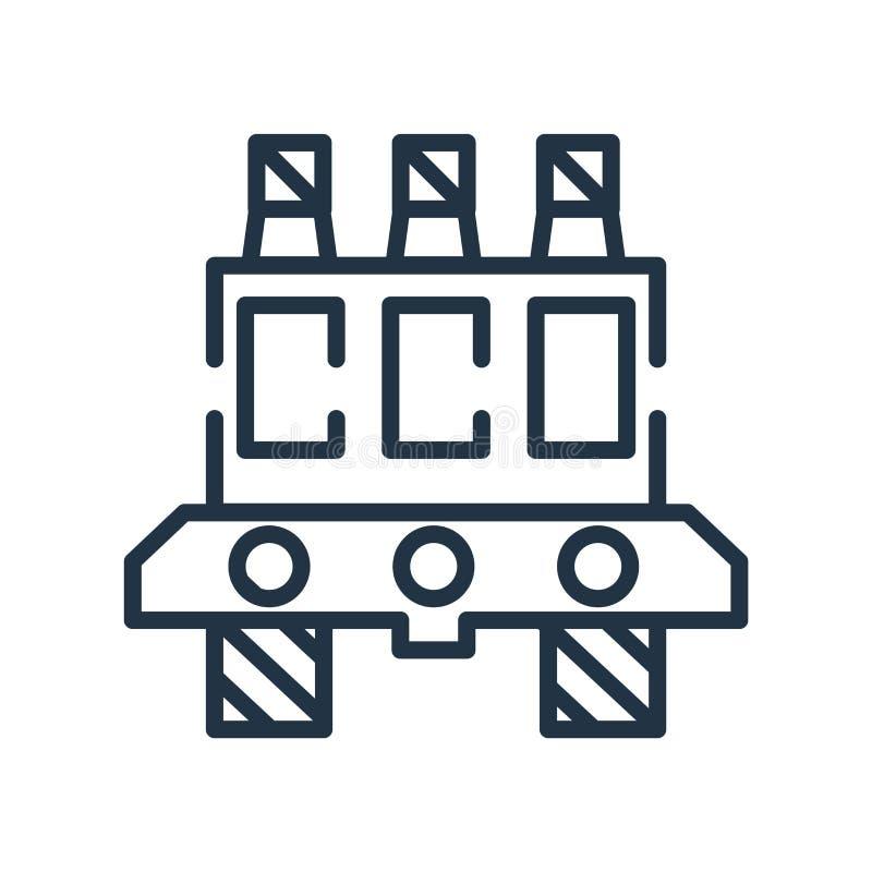 Vetor do ícone da plataforma petrolífera isolado no fundo branco, sinal da plataforma petrolífera ilustração stock