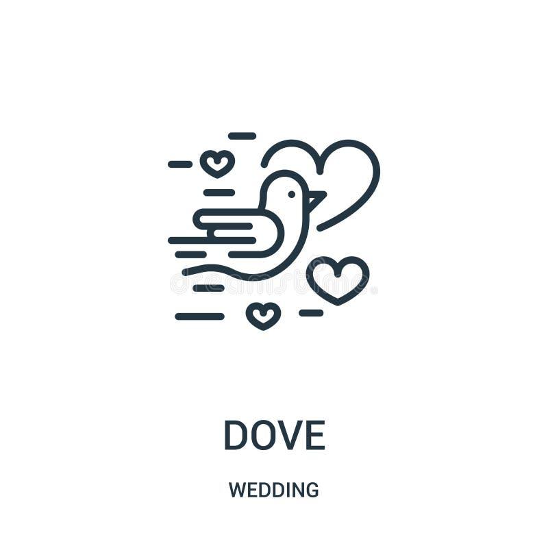 vetor do ícone da pomba da coleção do casamento Linha fina ilustração do vetor do ícone do esboço da pomba Símbolo linear para o  ilustração royalty free