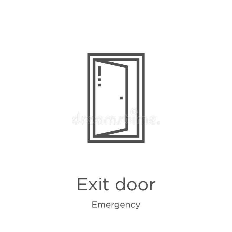 vetor do ícone da porta de saída da coleção da emergência Linha fina ilustração do vetor do ícone do esboço da porta de saída Esb ilustração stock