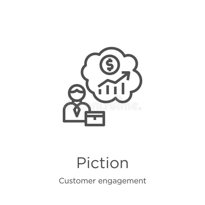 vetor do ícone da previsão da coleção do acoplamento do cliente Linha fina ilustração do vetor do ícone do esboço da previsão Esb ilustração stock