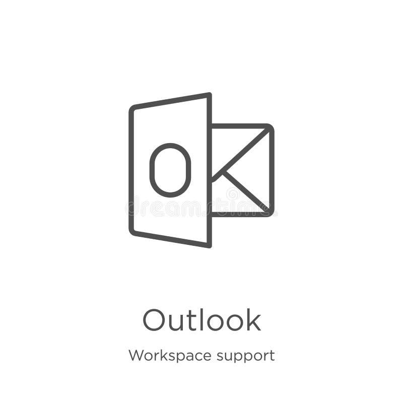 vetor do ícone da probabilidade da coleção do apoio do espaço de trabalho Linha fina ilustração do vetor do ícone do esboço da pr ilustração stock
