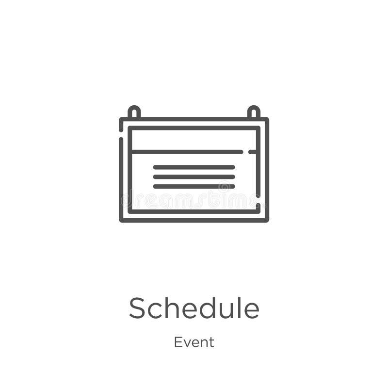 vetor do ícone da programação da coleção do evento Linha fina ilustração do vetor do ícone do esboço da programação Esboço, linha ilustração stock