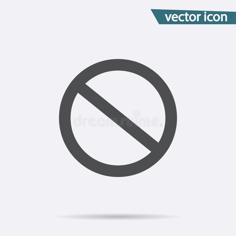 Vetor do ícone da proibição Liso nenhum símbolo isolado no fundo branco Conceito na moda do Internet moder ilustração do vetor