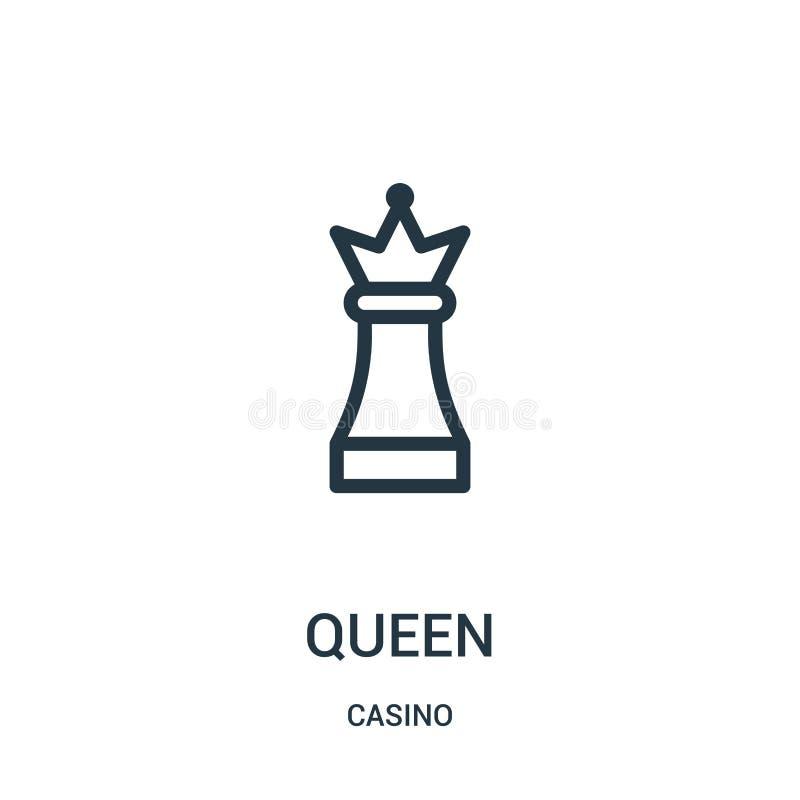vetor do ícone da rainha da coleção do casino Linha fina ilustra??o do vetor do ?cone do esbo?o da rainha ilustração stock