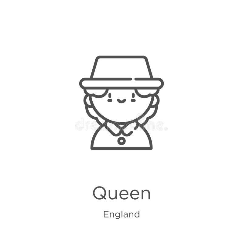 vetor do ícone da rainha da coleção de Inglaterra Linha fina ilustração do vetor do ícone do esboço da rainha Esboço, linha fina  ilustração stock