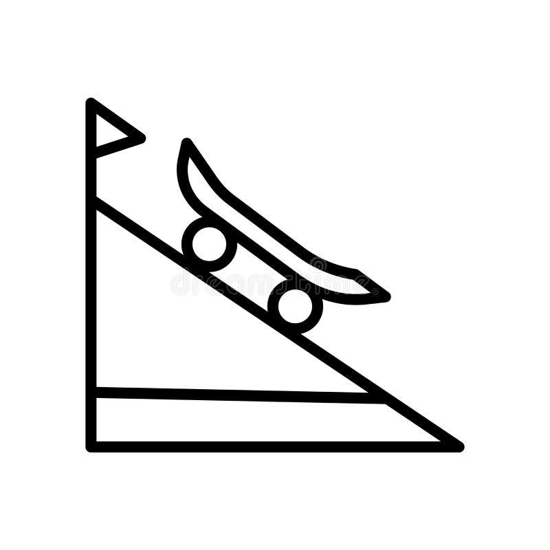 Vetor do ícone da rampa isolado no fundo branco, no sinal da rampa, no símbolo linear e nos elementos do projeto do curso no esti ilustração do vetor