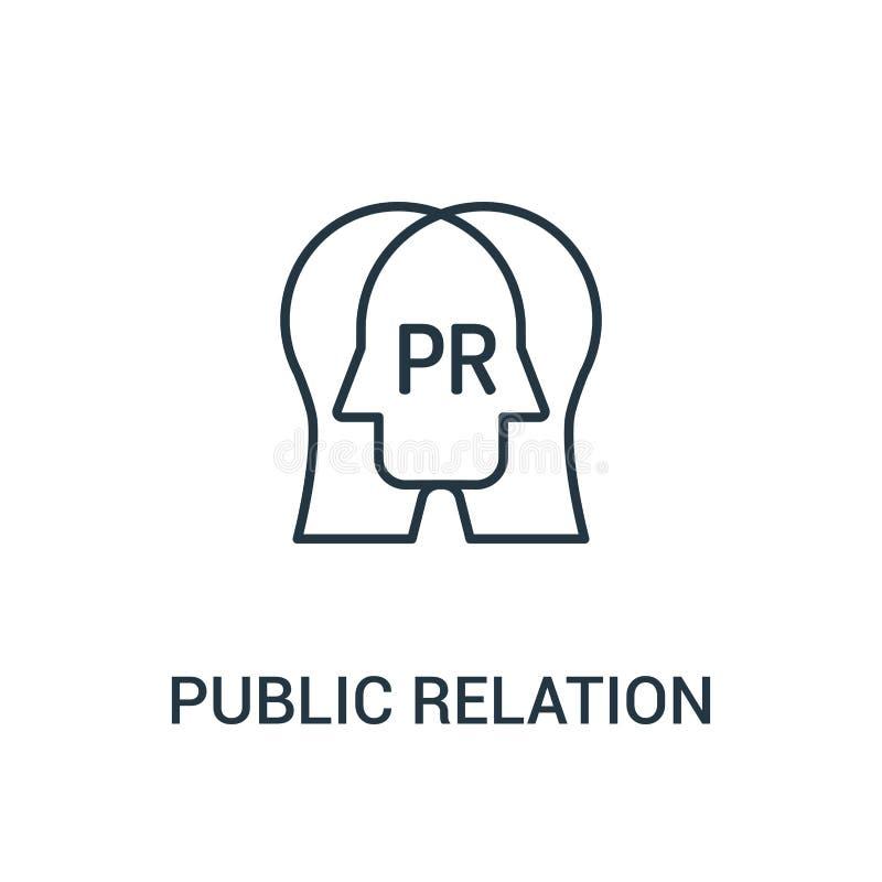 vetor do ícone da relação pública da coleção dos anúncios Linha fina ilustração do vetor do ícone do esboço da relação pública Sí ilustração stock