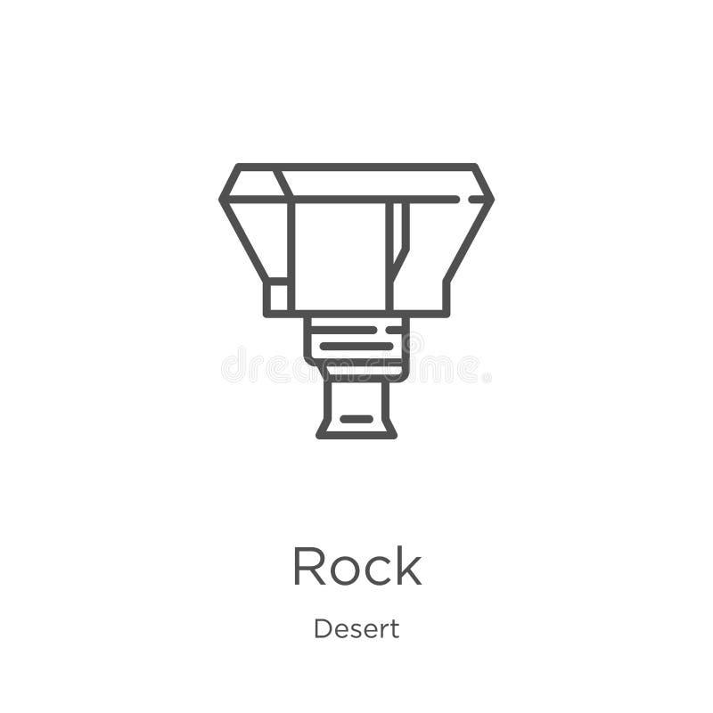 vetor do ícone da rocha da coleção do deserto Linha fina ilustração do vetor do ícone do esboço da rocha Esboço, linha fina ícone ilustração do vetor