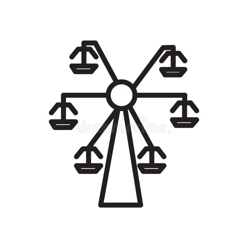Vetor do ícone da roda de Ferris isolado no sinal branco do fundo, da roda de Ferris, no símbolo linear e nos elementos do projet ilustração do vetor