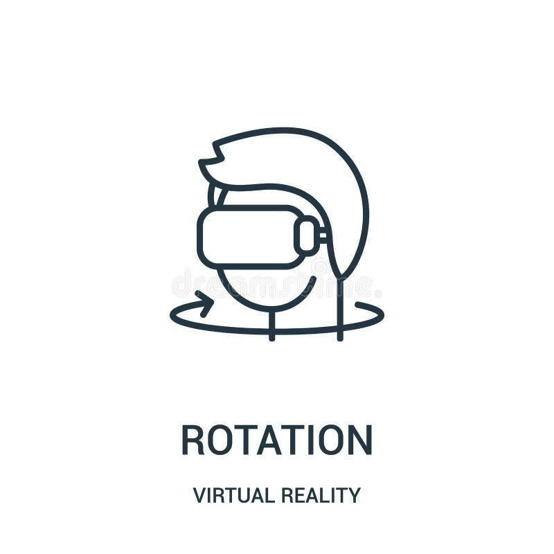 vetor do ícone da rotação da coleção da realidade virtual Linha fina ilustração do vetor do ícone do esboço da rotação ilustração royalty free