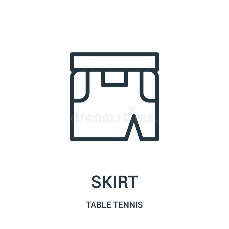 vetor do ícone da saia da coleção do tênis de mesa Linha fina ilustração do vetor do ícone do esboço da saia Símbolo linear para  ilustração stock