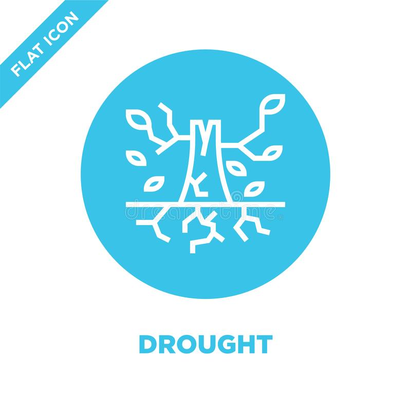 vetor do ícone da seca da coleção do aquecimento global Linha fina ilustração do vetor do ícone do esboço da seca Símbolo linear  ilustração do vetor
