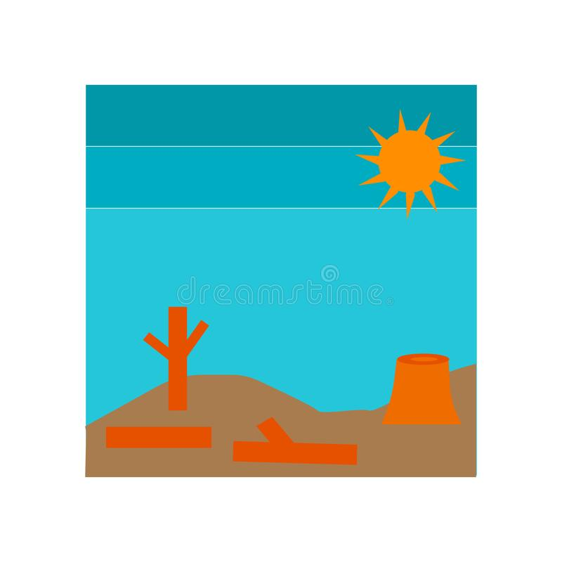 Vetor do ícone da seca isolado no fundo branco, sinal da seca, símbolos do desastre ilustração royalty free