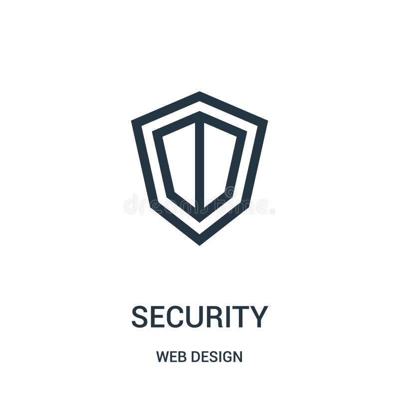 vetor do ícone da segurança da coleção do design web Linha fina ilustração do vetor do ícone do esboço da segurança ilustração stock