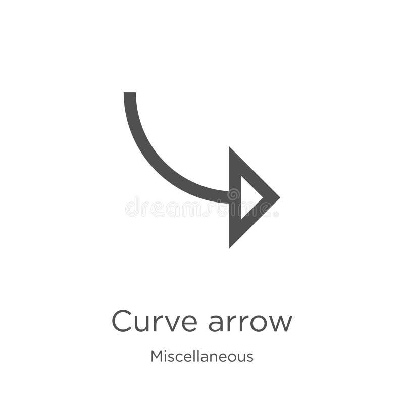 vetor do ícone da seta da curva da coleção variada Linha fina ilustração do vetor do ícone do esboço da seta da curva Esboço, lin ilustração stock
