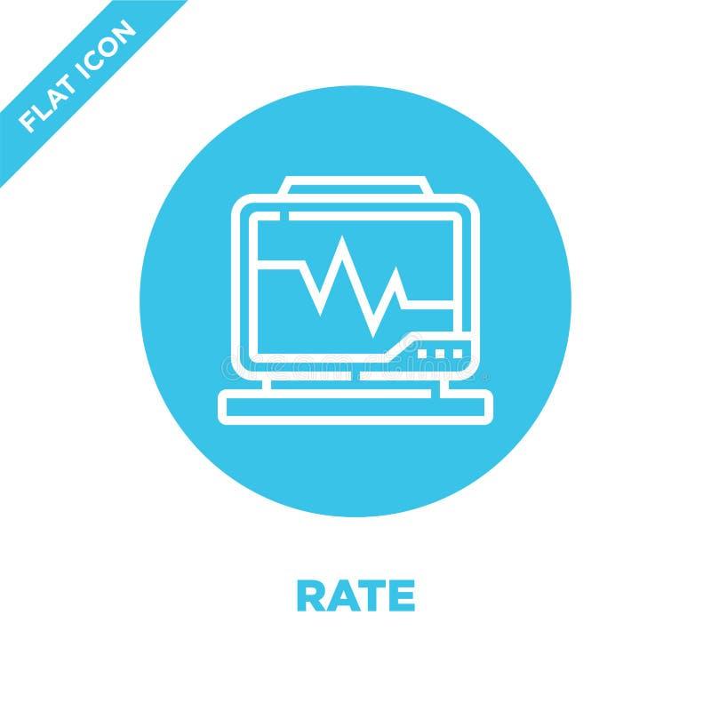 vetor do ícone da taxa da coleção saudável da vida Linha fina ilustração do vetor do ícone do esboço da taxa Símbolo linear para  ilustração stock