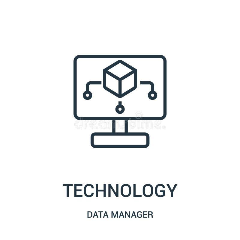 vetor do ícone da tecnologia da coleção do gerente dos dados Linha fina ilustração do vetor do ícone do esboço da tecnologia Símb ilustração stock