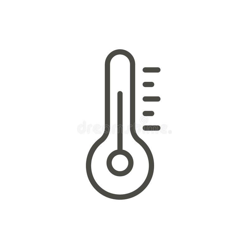 Vetor do ícone da temperatura Linha símbolo do termômetro ilustração royalty free