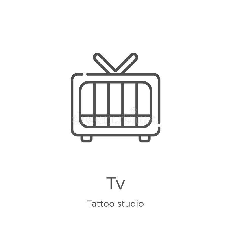 vetor do ícone da tevê da coleção do estúdio da tatuagem Linha fina ilustra??o do vetor do ?cone do esbo?o da tev? Esboço, linha  ilustração stock