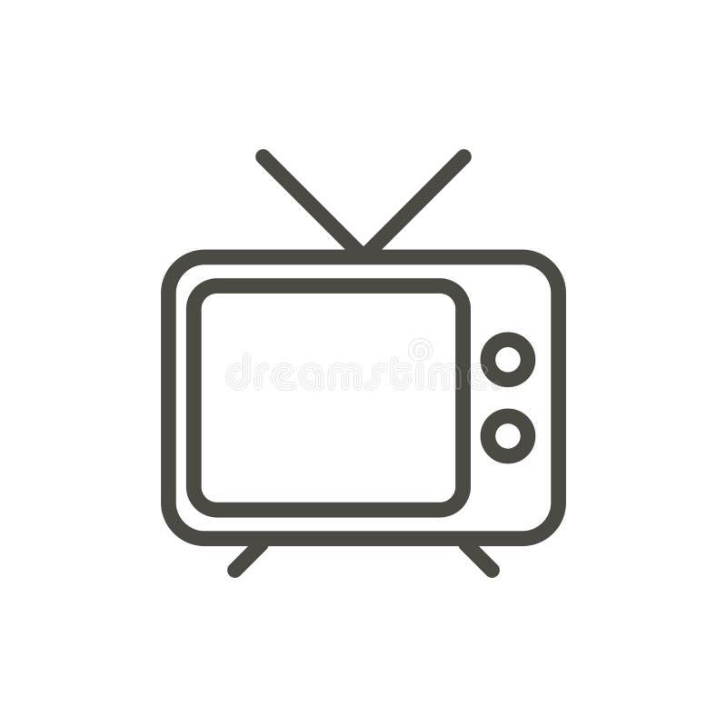 Vetor do ícone da tevê A televisão do esboço, alinha o símbolo velho da tevê ilustração stock