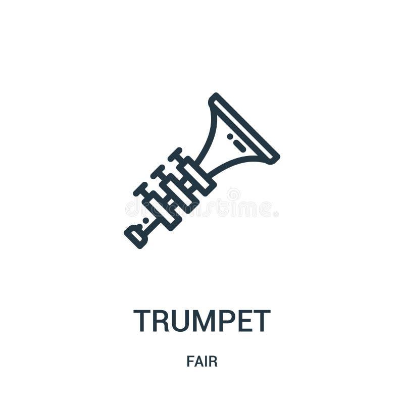 vetor do ícone da trombeta da coleção justa Linha fina ilustração do vetor do ícone do esboço da trombeta Símbolo linear para o u ilustração do vetor