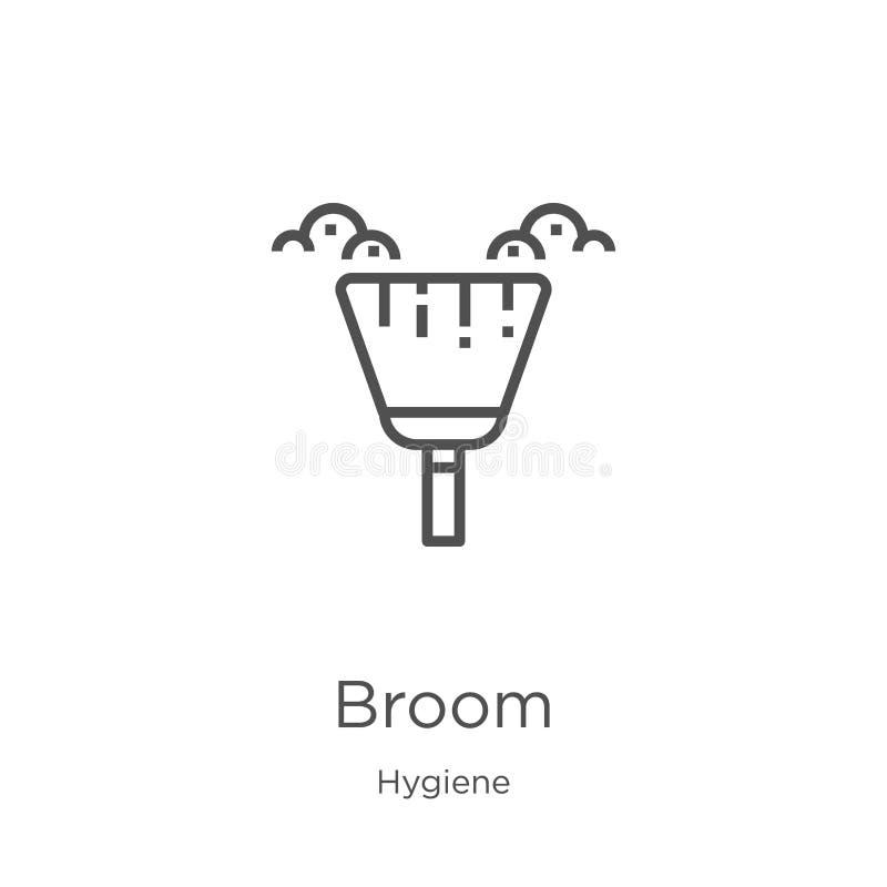 vetor do ícone da vassoura da coleção da higiene Linha fina ilustração do vetor do ícone do esboço da vassoura Esboço, linha fina ilustração do vetor