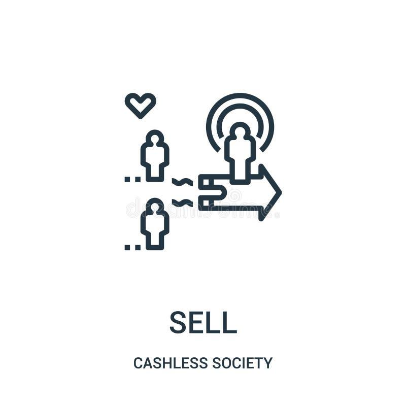 vetor do ícone da venda da coleção cashless da sociedade Linha fina ilustração do vetor do ícone do esboço da venda ilustração do vetor