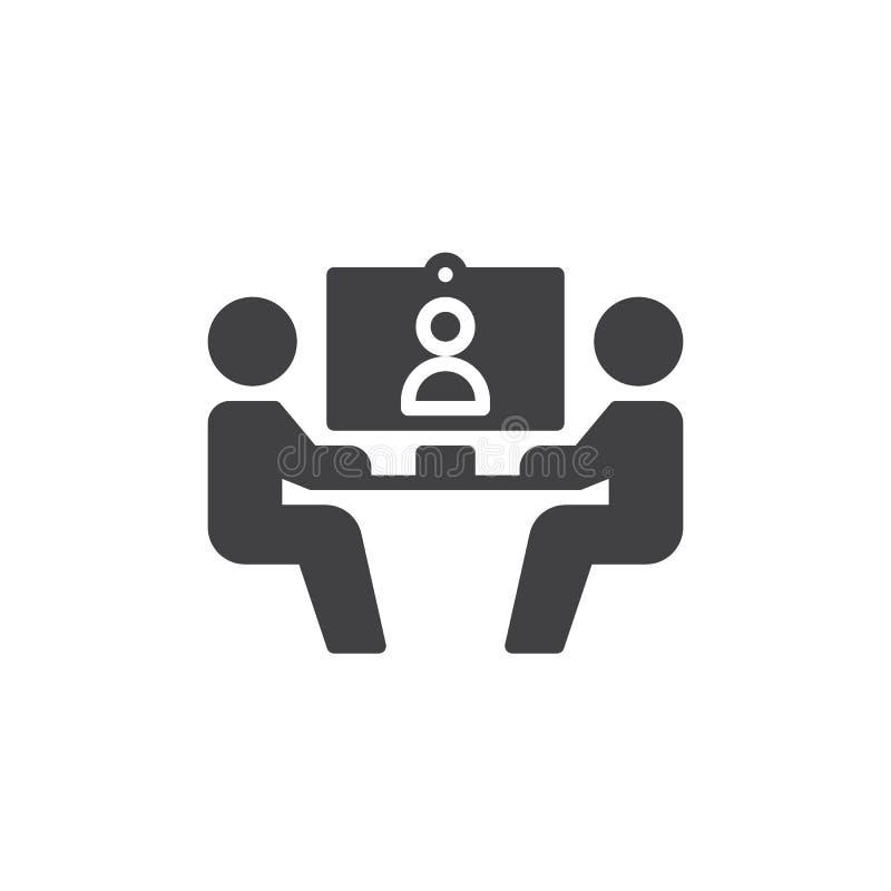 Vetor do ícone da videoconferência, sinal liso enchido, pictograma contínuo isolado no branco Símbolo, ilustração do logotipo ilustração do vetor
