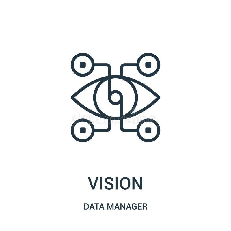 vetor do ícone da visão da coleção do gerente dos dados Linha fina ilustração do vetor do ícone do esboço da visão Símbolo linear ilustração stock