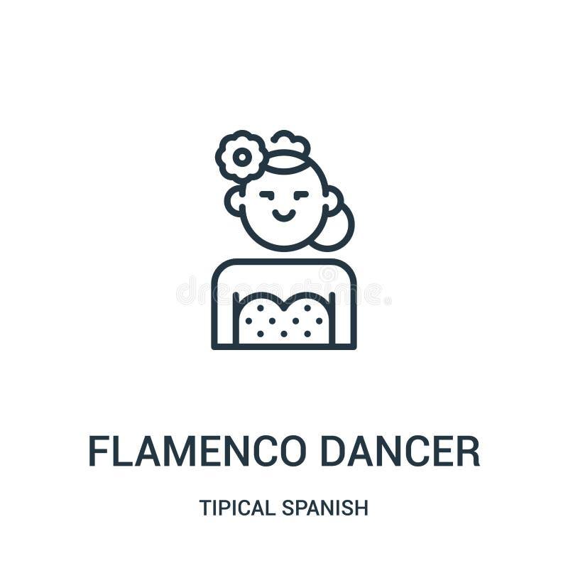 vetor do ícone do dançarino do flamenco da coleção espanhola tipical Linha fina ilustração do vetor do ícone do esboço do dançari ilustração stock