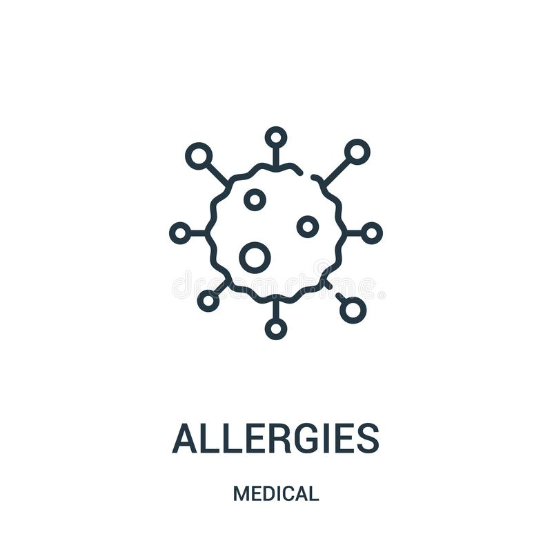 vetor do ícone das alergias da coleção médica Linha fina ilustração do vetor do ícone do esboço das alergias ilustração stock