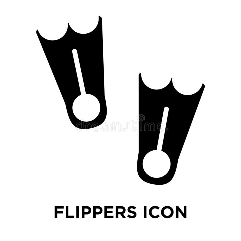 Vetor do ícone das aletas isolado no fundo branco, conceito do logotipo ilustração royalty free
