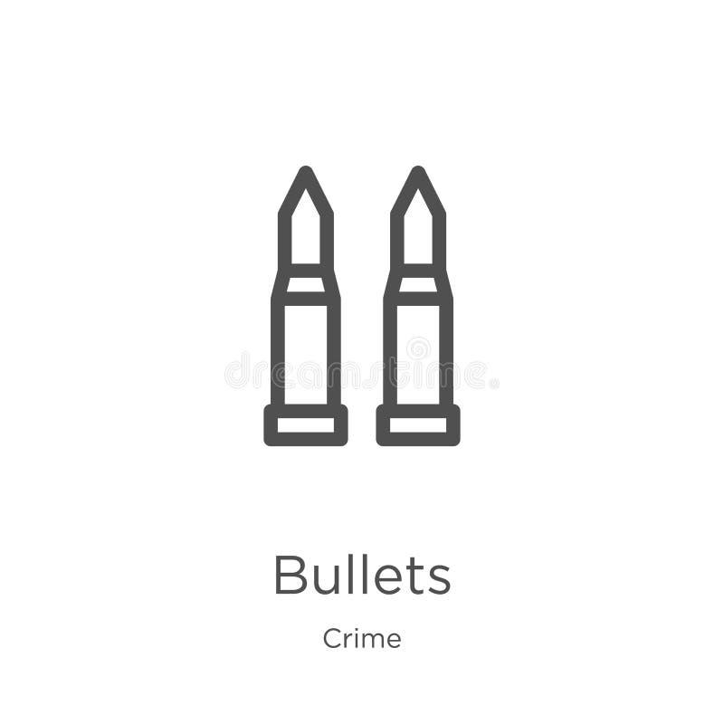 vetor do ícone das balas da coleção do crime Linha fina ilustração do vetor do ícone do esboço das balas Esboço, linha fina ícone ilustração do vetor