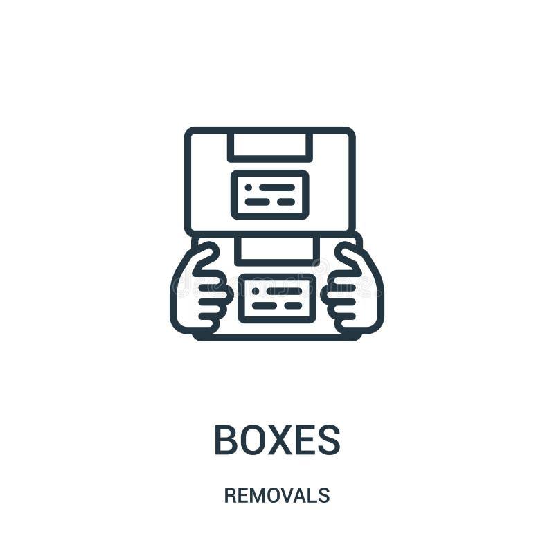 vetor do ícone das caixas da coleção das remoções Linha fina ilustração do vetor do ícone do esboço das caixas Símbolo linear par ilustração do vetor