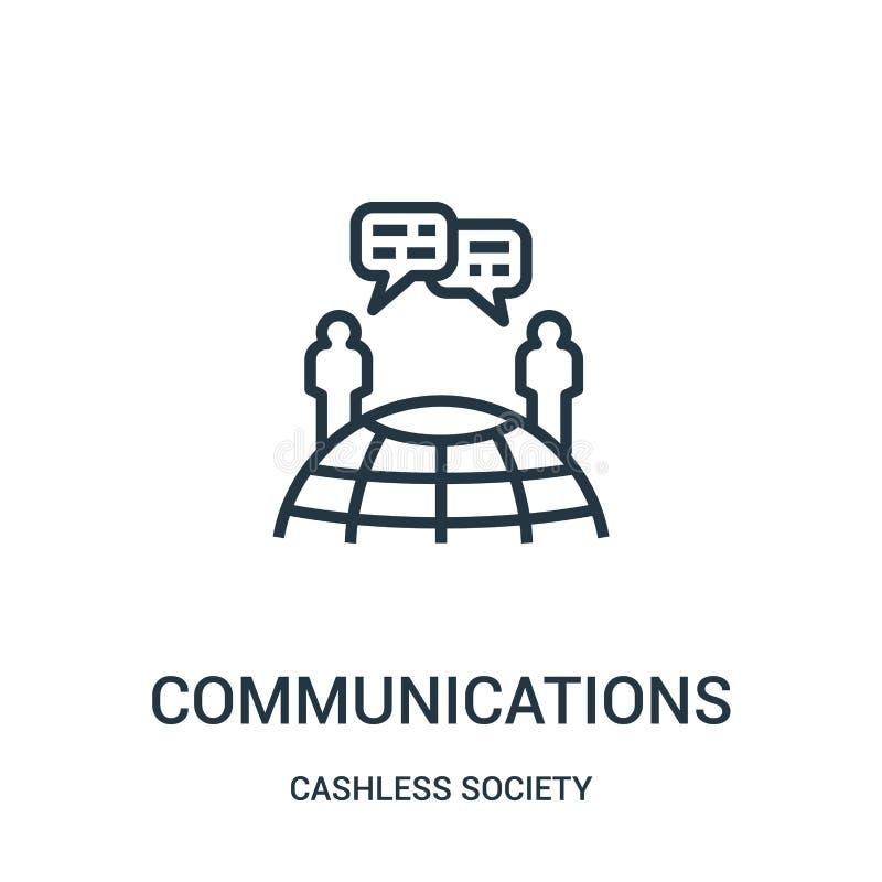 vetor do ícone das comunicações da coleção cashless da sociedade Linha fina ilustração do vetor do ícone do esboço das comunicaçõ ilustração stock