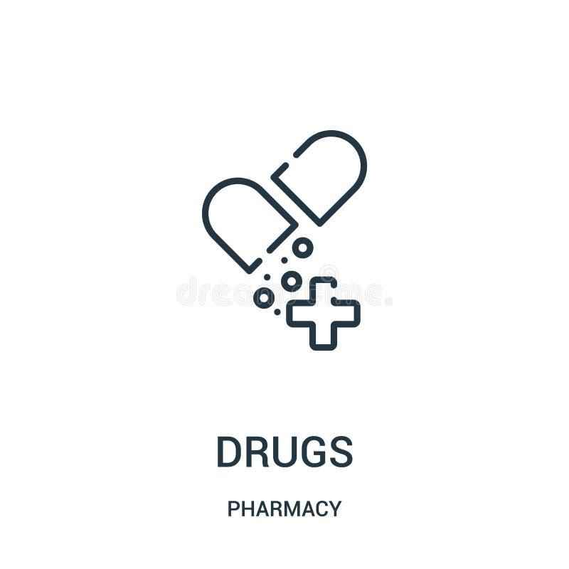 vetor do ícone das drogas da coleção da farmácia Linha fina ilustração do vetor do ícone do esboço das drogas ilustração royalty free