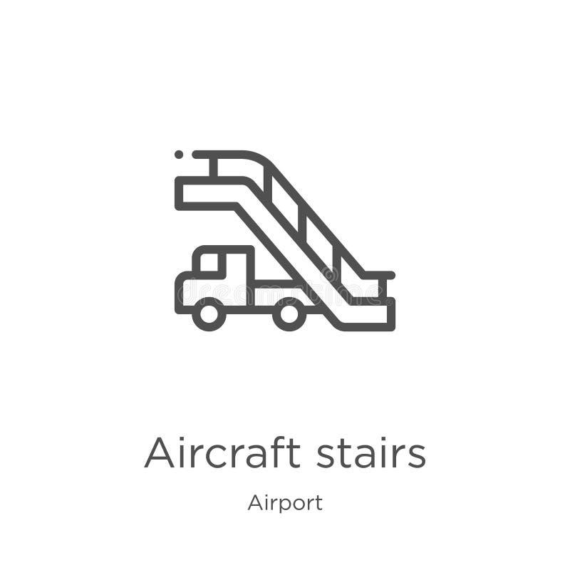 vetor do ícone das escadas dos aviões da coleção do aeroporto Linha fina ilustração do vetor do ícone do esboço das escadas dos a ilustração royalty free