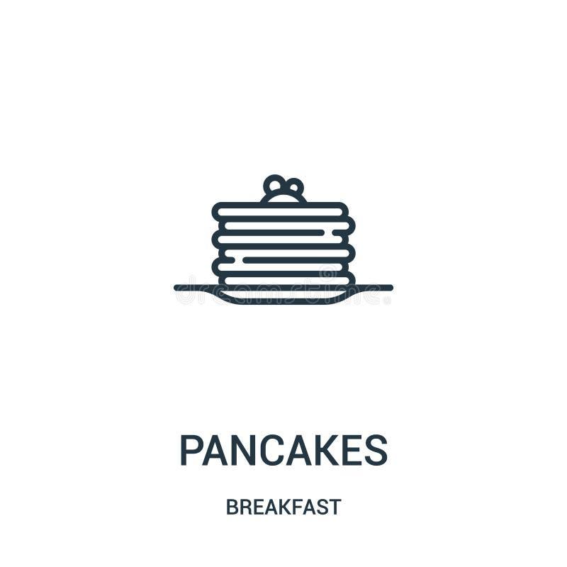 vetor do ícone das panquecas da coleção do café da manhã Linha fina ilustração do vetor do ícone do esboço das panquecas Símbolo  ilustração stock