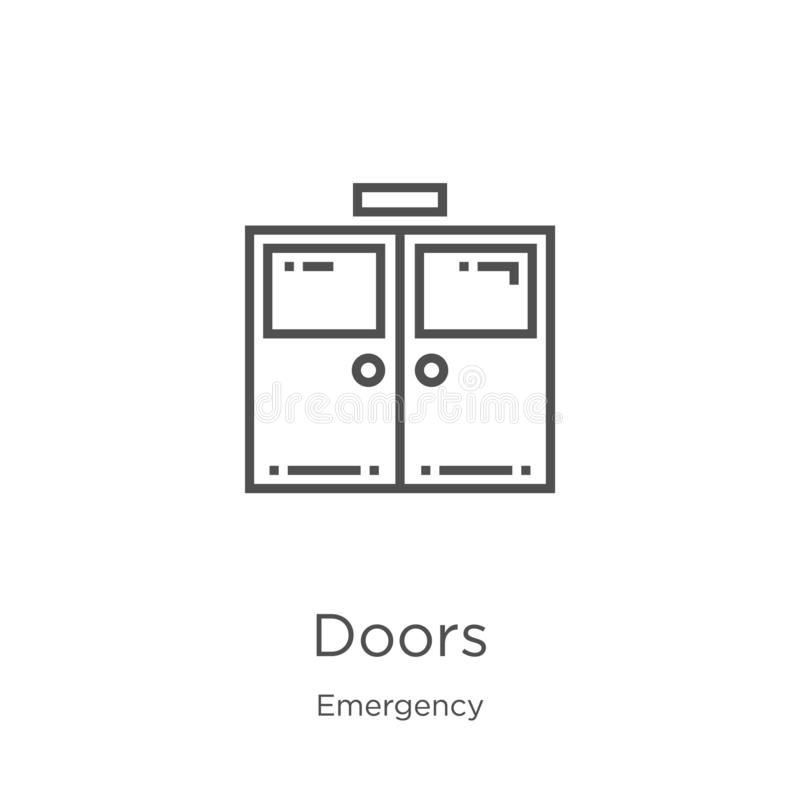 vetor do ícone das portas da coleção da emergência Linha fina ilustração do vetor do ícone do esboço das portas Esboço, linha fin ilustração stock